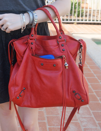 away from the blue blog mica Balenciaga Coquelicot poppy red velo bag