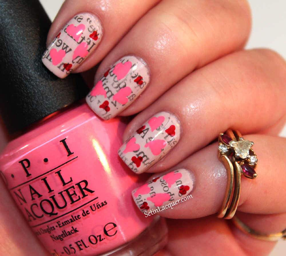 Valentines Day nail art - love letters