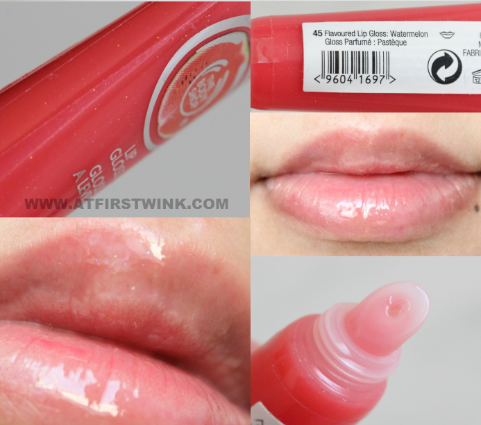 the bodyshop flavoured lip gloss watermelon on lips