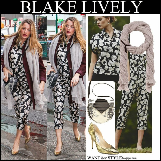Blake Lively in dog print matching top and cropped pants, grey knit scarf with gold pumps want her style october 18 2014 streetstyle