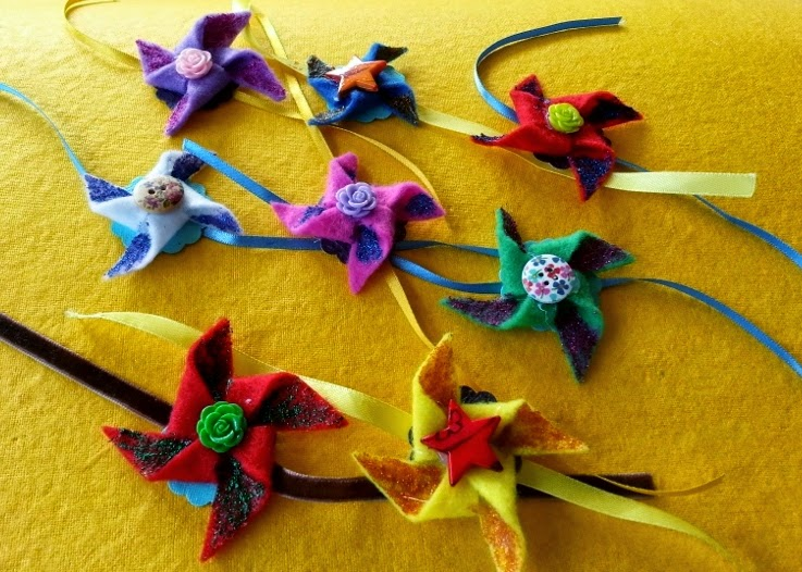 Pinwheel Felt rakhi designs - We have 15 best ideas to make Rakhi at home for Rakshabandhan - Perfect rakhi ideas for kids to make, rakhi competition, best of waste, simple and handmade with detailed step by step images- ArtsyCraftsyMom