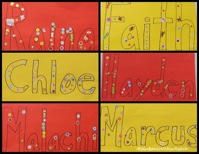 photo of: First Name Project for Fine Motor using Stickers