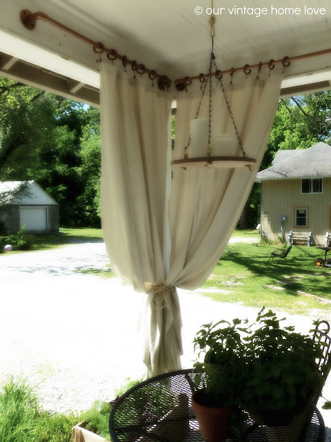 ... Side Porch Ideas For Summer and An Industrial Pipe Curtain Rod How To
