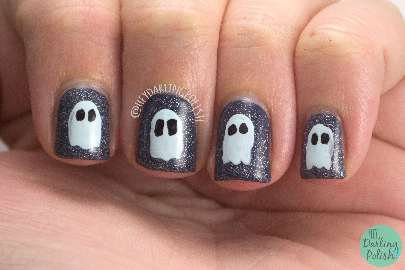 ghosts, blue, glitter, luminosity, nails, nail art, nail polish, indie polish, indie, liquid kandi, october sweet treat box, halloween,