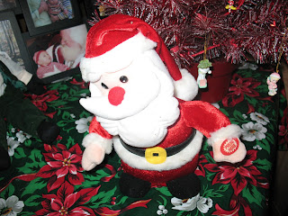 Another Pink Santa In My Living Room Next To My Pink Poinsettia.
