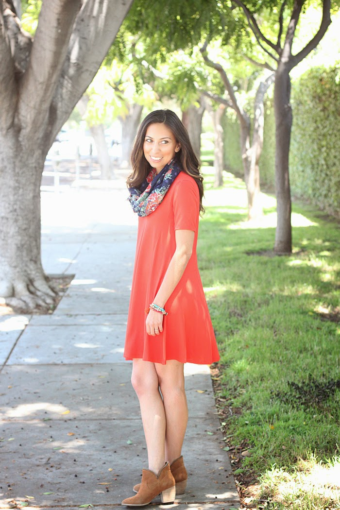 red tent dress and floral scarf