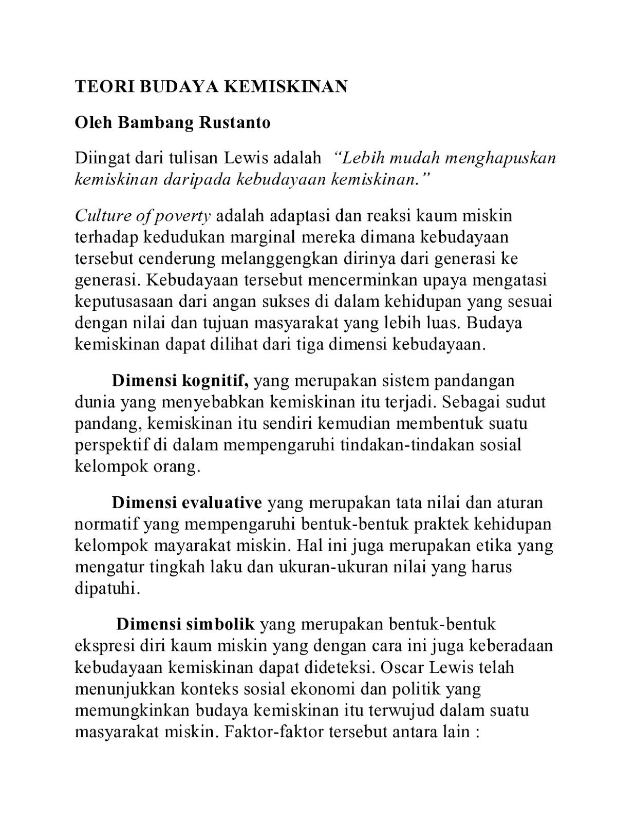 peksos bambang rustanto teori budaya kemiskinan selasa 22 2014