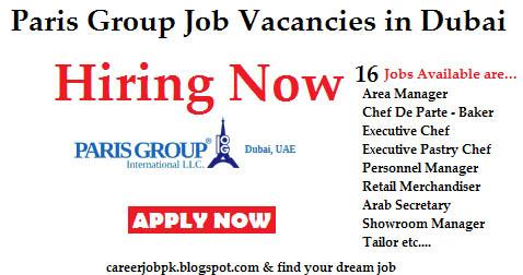 Paris Group Uae Job Vacancies in Dubai