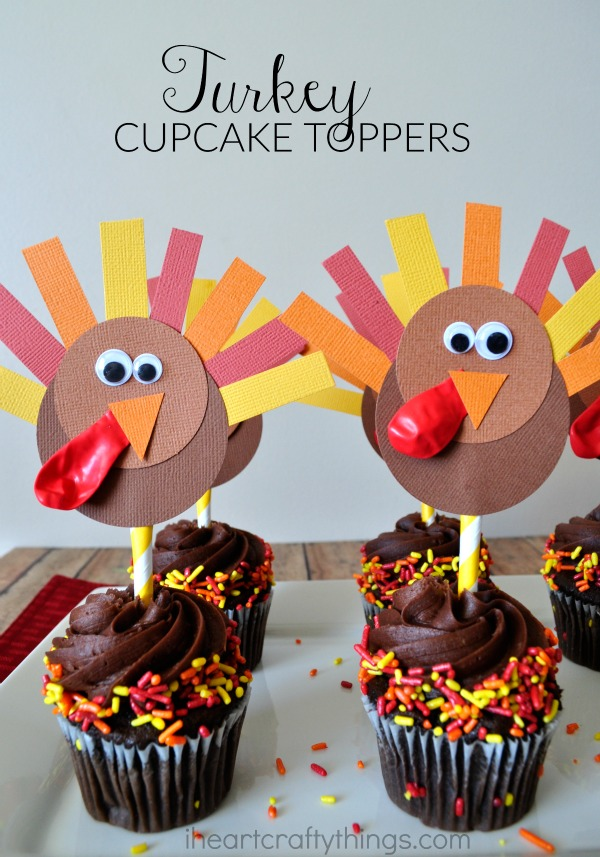 DIY Thanksgiving Turkey Cupcake Toppers I Heart Crafty Things