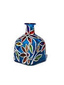 "Blue Hand Painted ""Patron"" Bottle - Decorative Glass Art by SylwiaGlassArt"