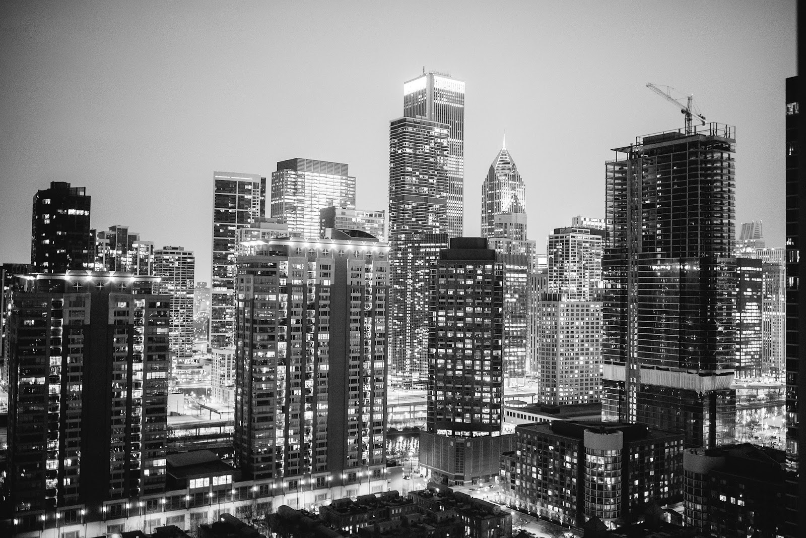 Black and White Rooftop Chicago Photography