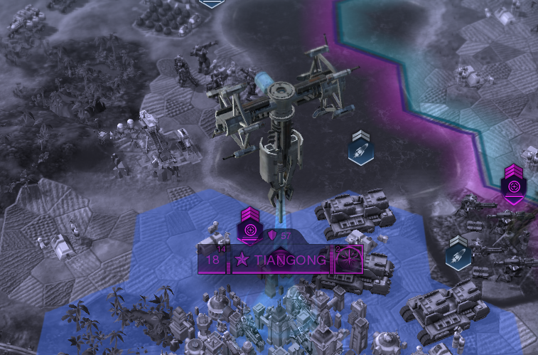 A Lasercom Satellite, floating over a city in Civilization: Beyond Earth. You'll need at least one for The Promised Land Victory.