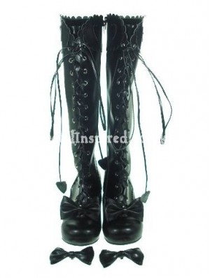Black Cute Bow Lolita Boots