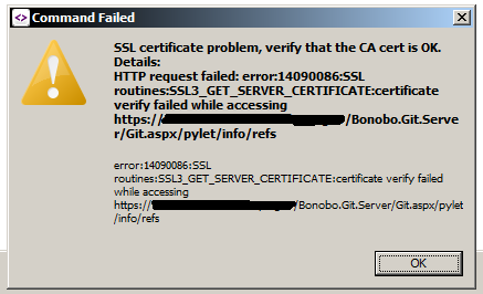 Command Failed:  SSL certificate problem, verify that the CA cert is OK.  Details:  HTTP request failed: error:14090086:SSL routines:SSL3_GET_SERVER_CERTIFICATE:certificate verify failed while accessing https