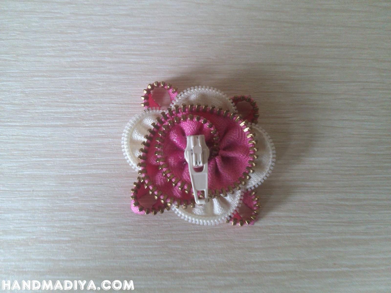 Резинка для волос с цветком из молний. Scrunchy with flower zipper  step-by-step tutorials