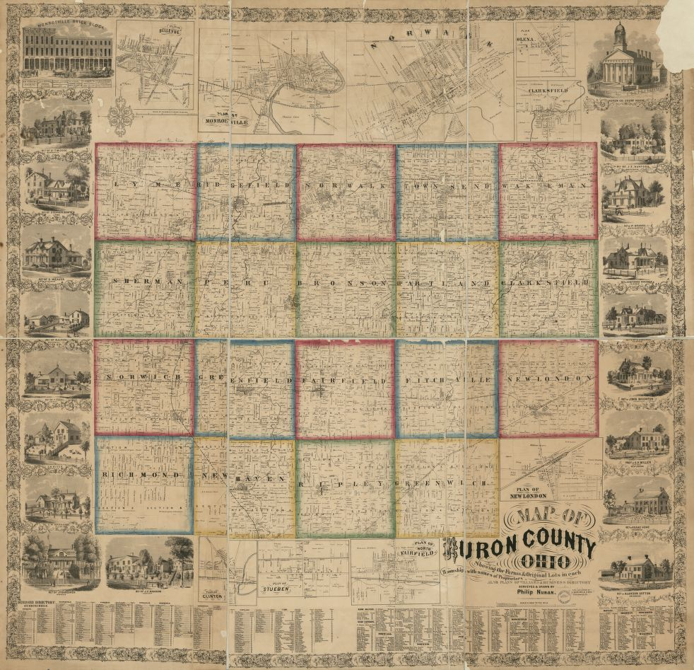 map of huron county oh 1859 library of congress