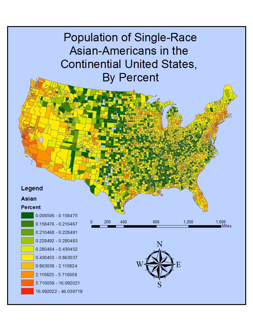 the first map displays the distribution of the asian american population throughout the united states from the map it can be seen that the asian