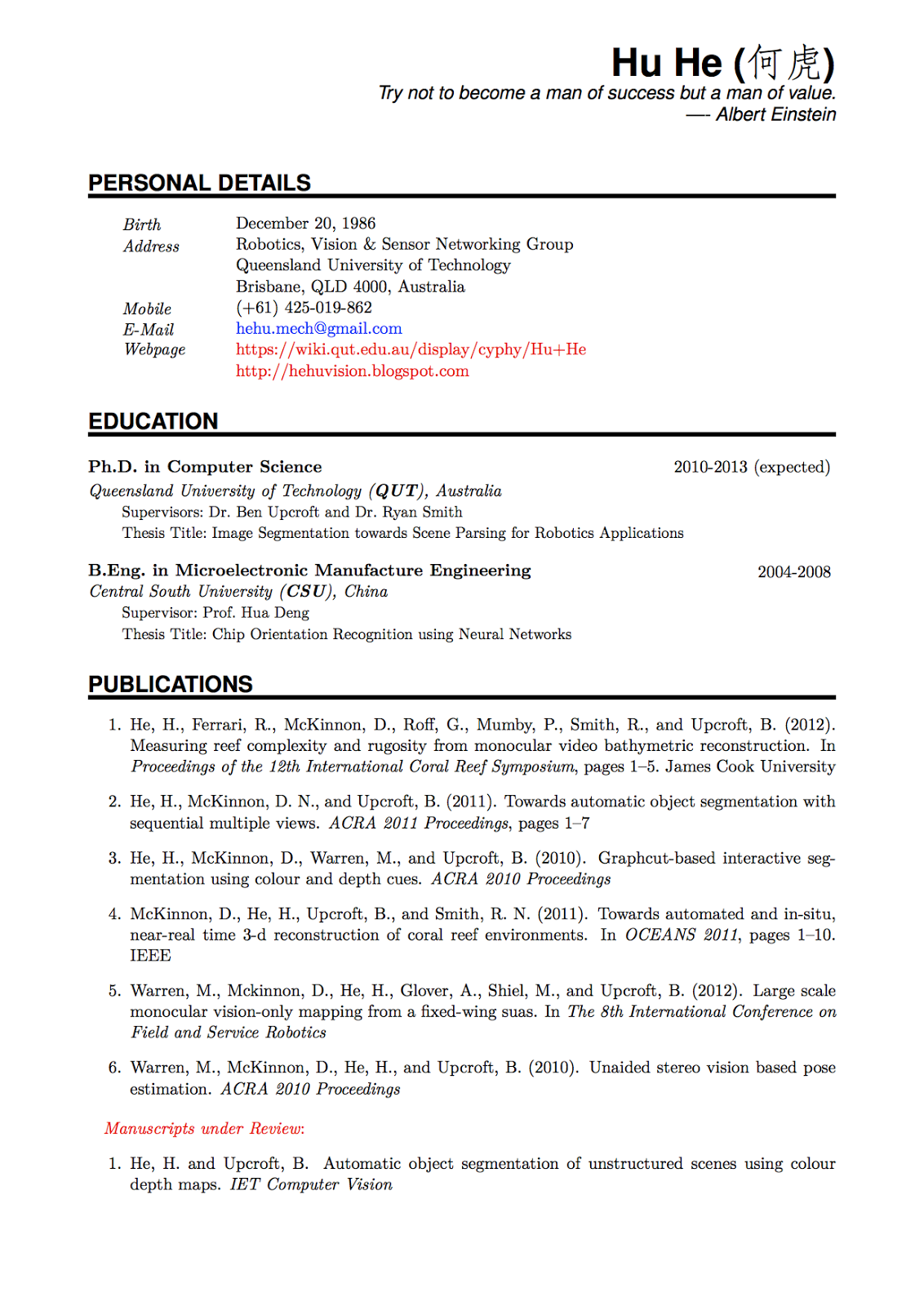 academic cv template latex
