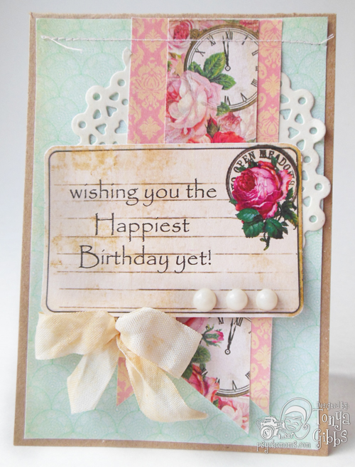 #Hybrid Birthday card created by Tonya A. Gibbs using #MarionSmithDesigns #MadTeaParty collection and the #Scarlet #Printable #Digi #Digital #Card #Psychomoms