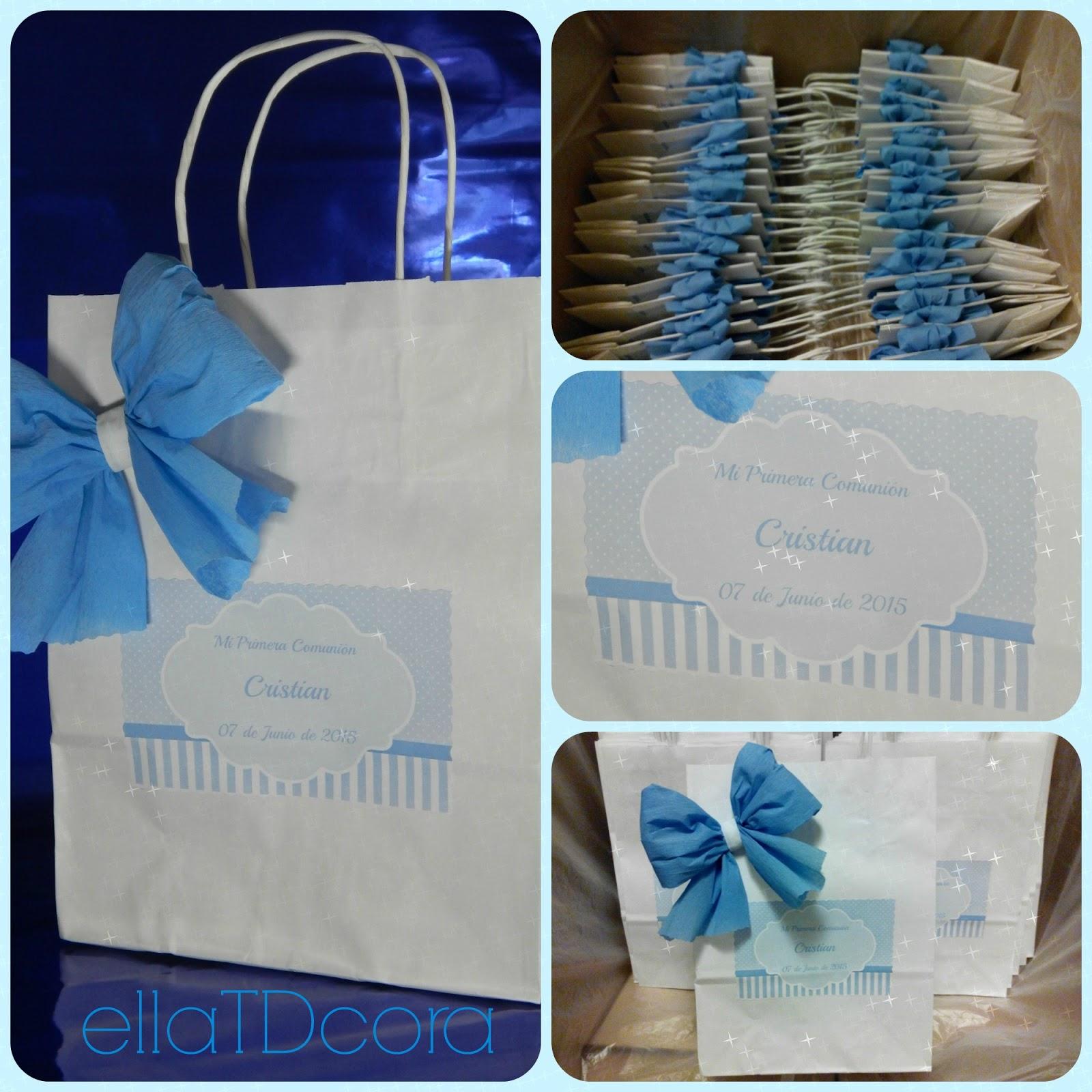 Ellatdcora creaci n bolsa de regalo de comunion - Bolsas de regalo personalizadas ...