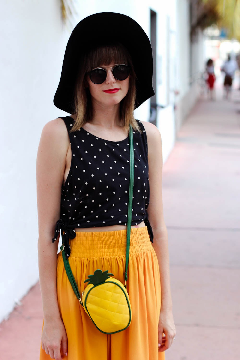 forever 21 polka dot blouse, pineapple bag, vintage yellow skirt, miami fashion blogger