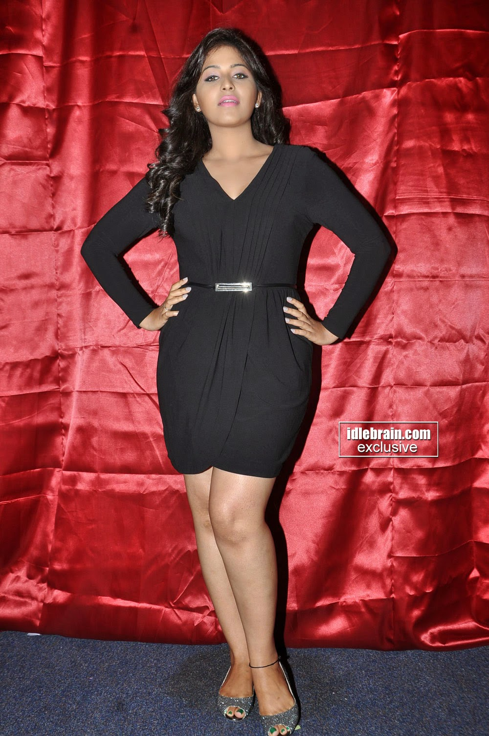 Anjali Latest Black Dress Stills At Geethanjali Movie Song Launch