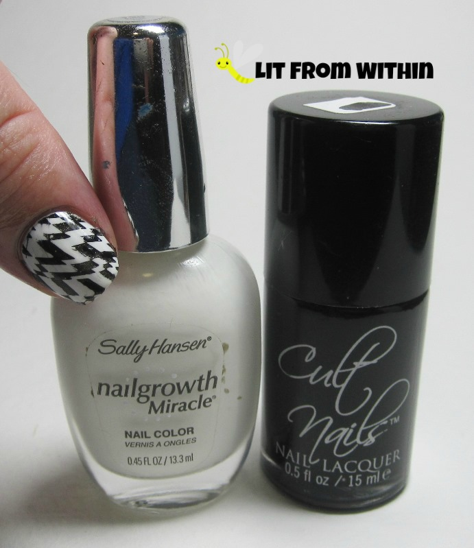 Bottle shot: Sally Hansen White Tip and Cult Nails Nevermore.