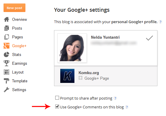 Google Plus Setting Blogger