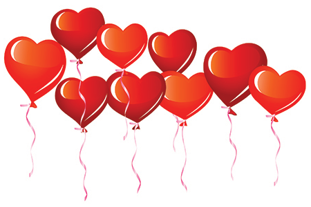 Flying heart balloons