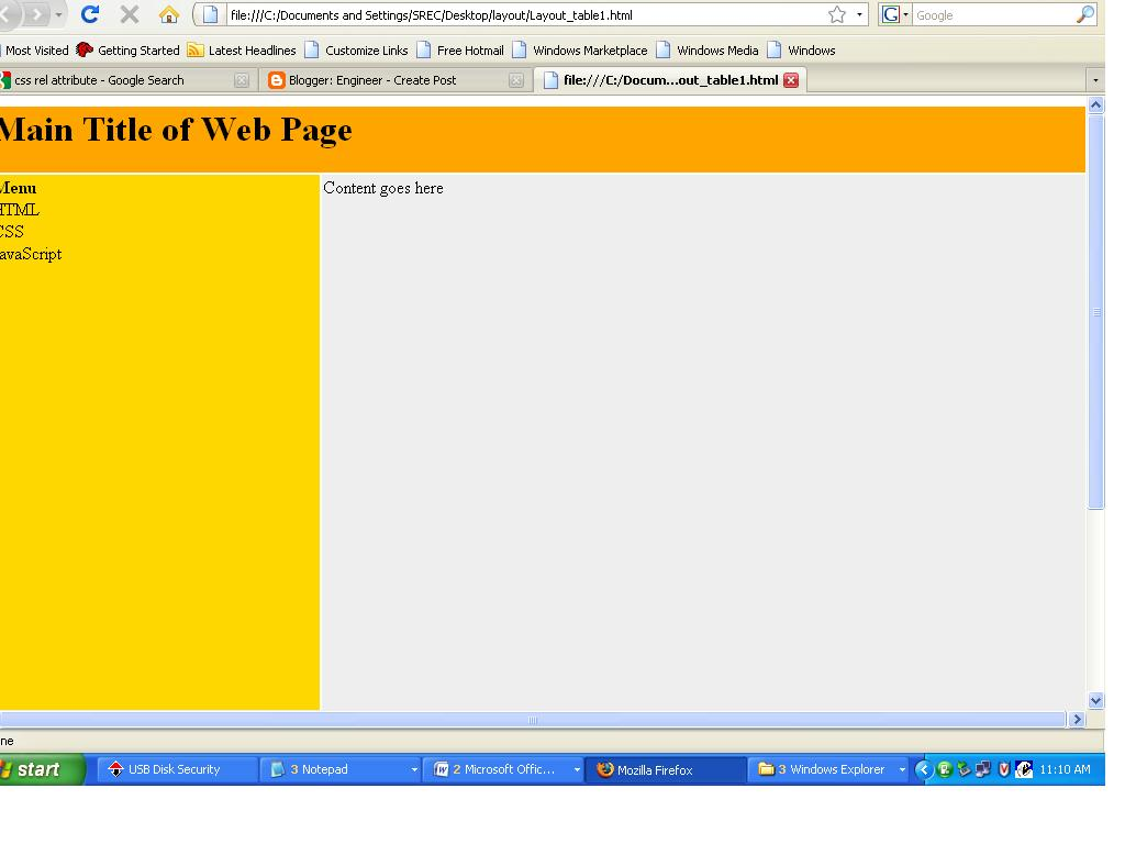 Engineer how to design home page by using html for Table w3schools
