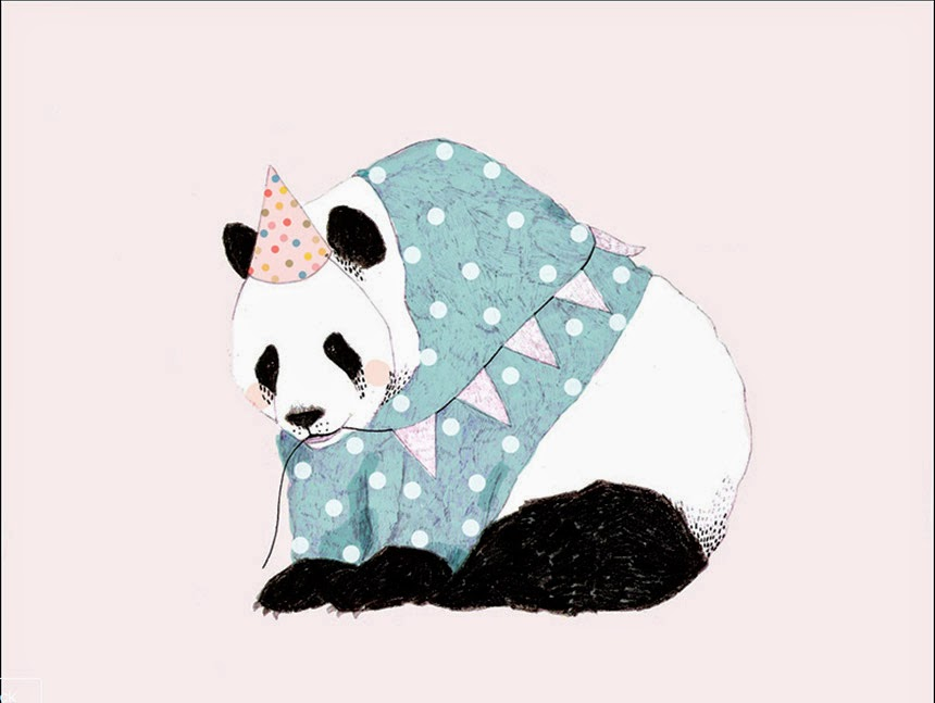 party hat panda bear illustration by Daniela Dahf Henriquez