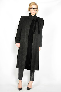 Vintage 1980's grey wool Valentino coat with black velvet trim.