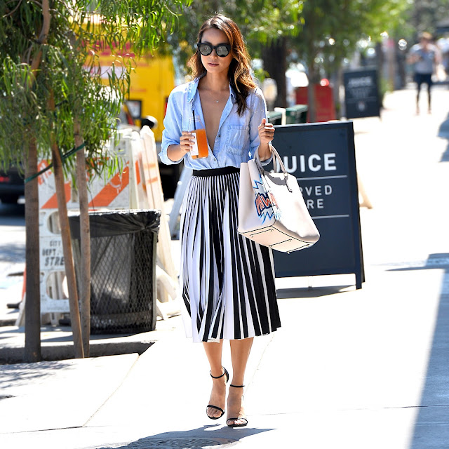 Actress @ Jamie Chung - Unbuttoned shirt - Leaving Clover Juice in West Hollywood
