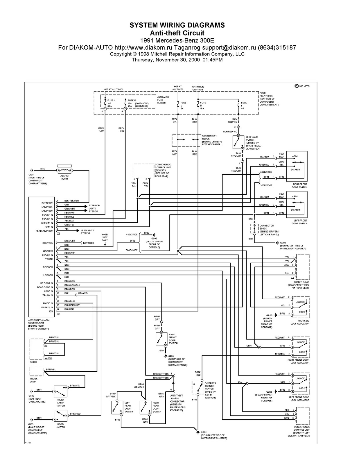 1991 mercedes benz 300e system wiring diagrams anti theft for Mercedes benz w124 230e wiring diagram