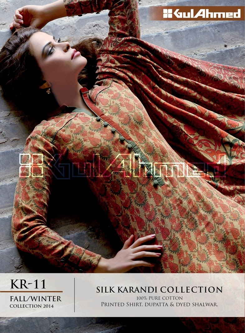 GulAhmed Fall/Winter 2014 Silk Karandi Collection - KR-11