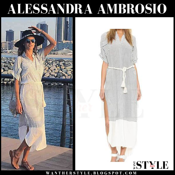 Alessandra Ambrosio in striped belted maxi dress faithful the brand gigi what she wore streetstyle