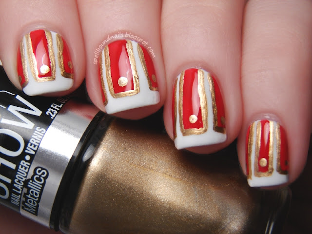 Time Periods nail art Challenge Ancient Rome Spellbound Nails Lacquer red gold white skirt pteruges soldier