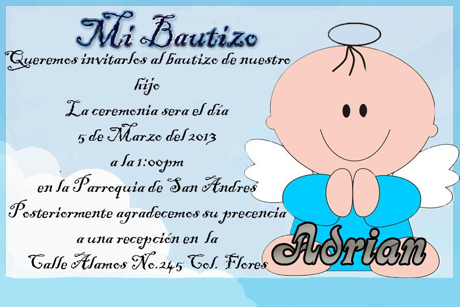 ejemplo de invitaciones de bautizo: