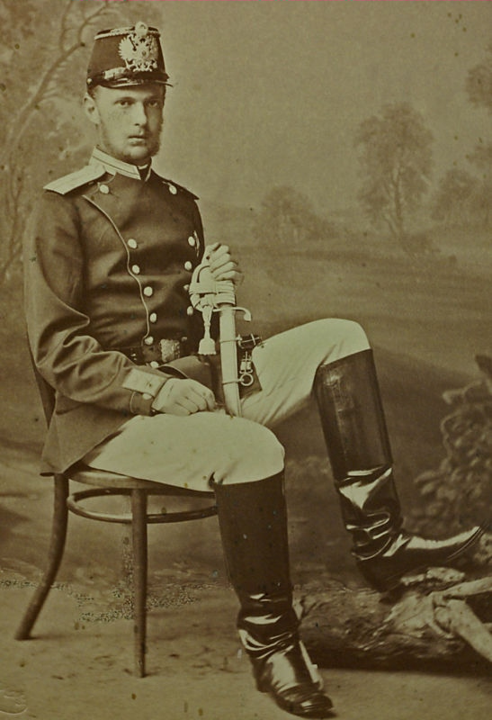 A photograph of a young Sergei Alexandrovich in military uniform. Select the image for a link to the source.