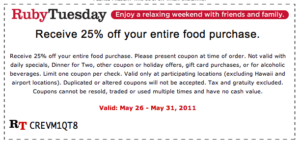 Ruby tuesday coupons 50 off