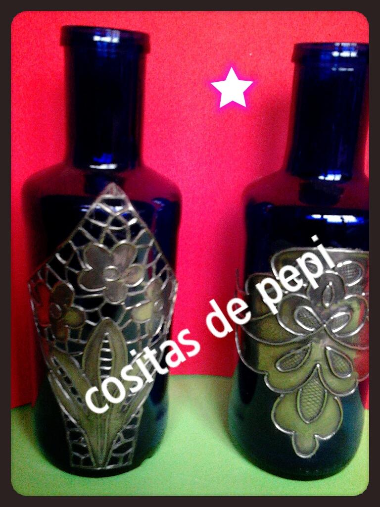 Tejas y manualidades de pepi botella decorada con esta o for Manualidades con estano