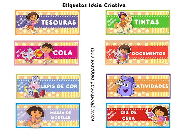 Etiquetas para organizar material Dora Aventureira
