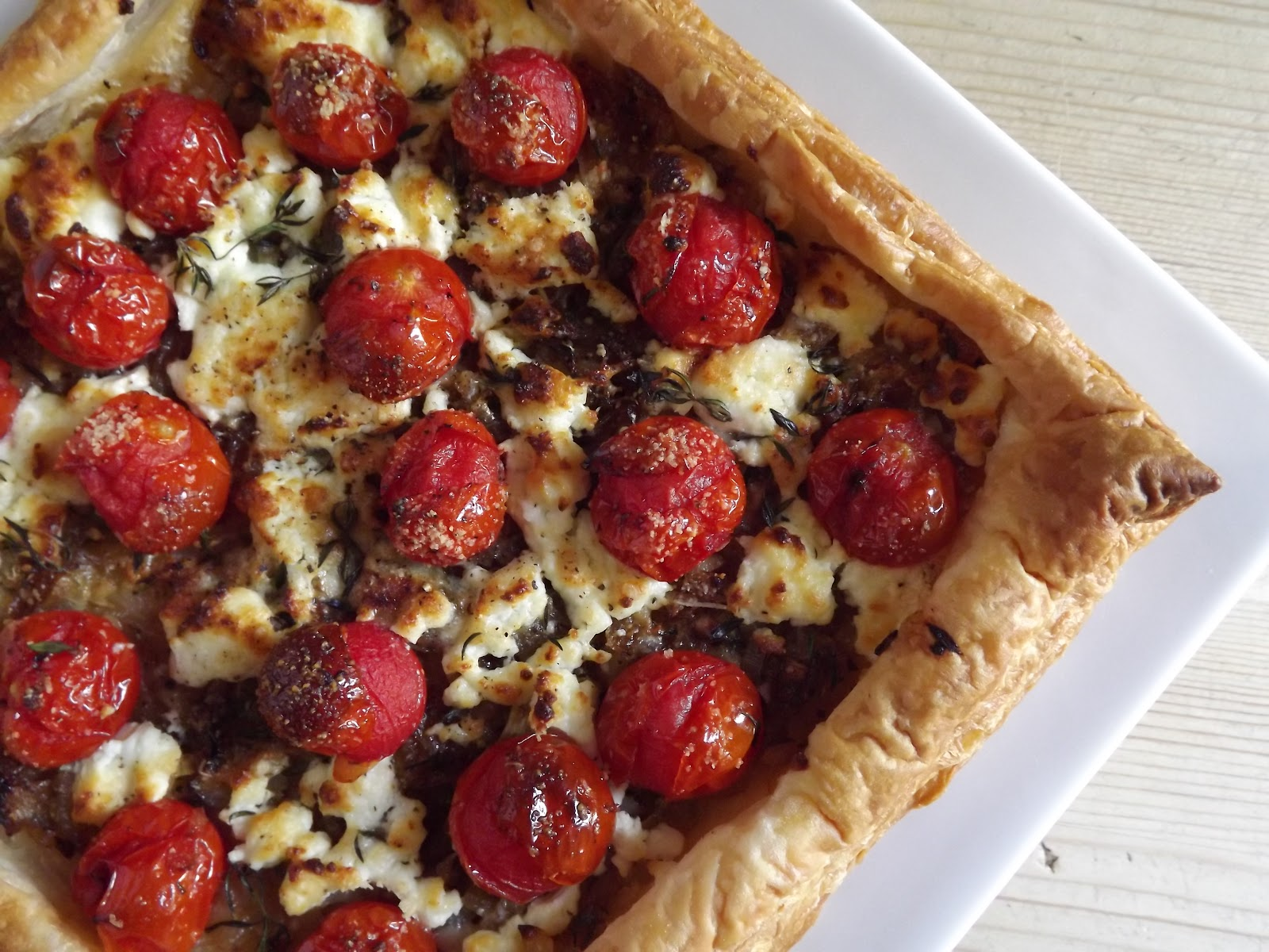 Caramelised Onion, Tomato and Goats Cheese Tart