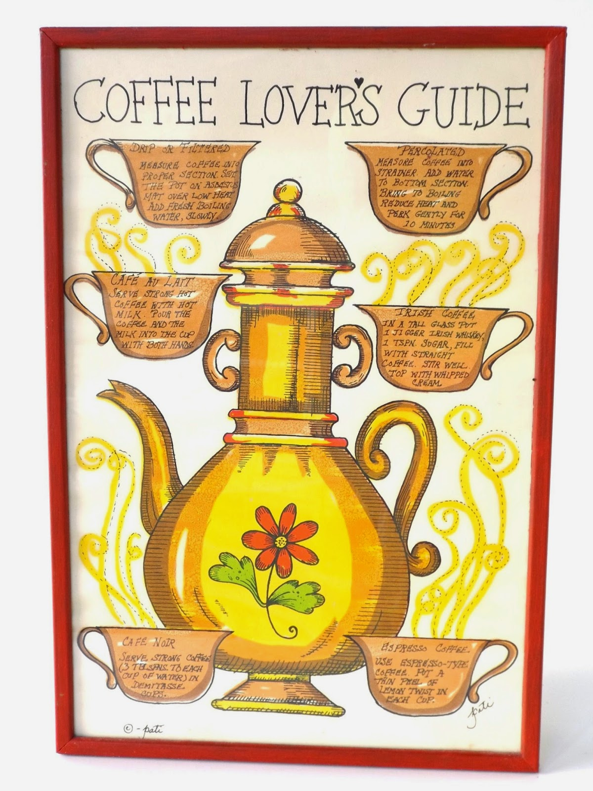 Vintage Artwork/ Wall Hanging/ Coffee Lovers Guide/ Red/Framed / Art/ Tea  Pot/ Tea Cup/ Print/ Kitchen Print/ Signed Pati/ Soovia Janis Inc