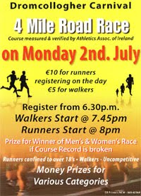 Dromcollogher 4 mile - Mon 2nd July 2018