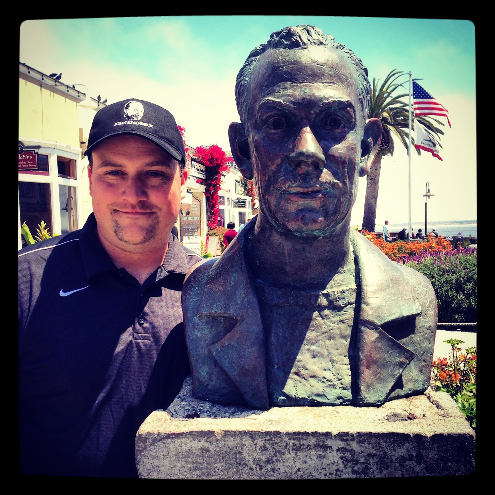 epiphany in baltimore  a bust of john steinbeck sits in cannery row