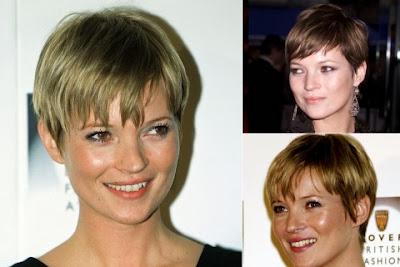 Kate Moss short haircut with bangs