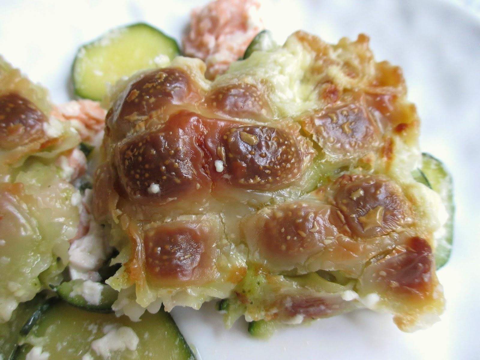 cooking gratin de ravioles au saumon frais et courgettes