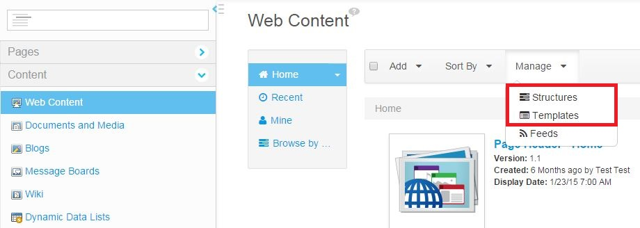 Liferay Is Easy Structure And Templates For Web Content In Liferay