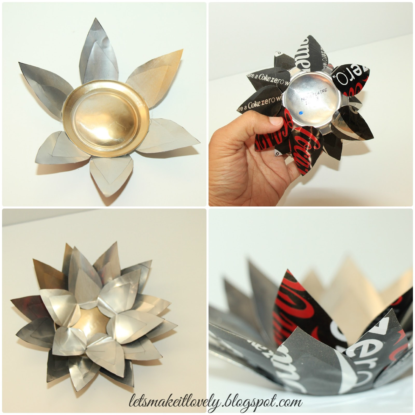 Turn Coke tins into beautiful Candle Votives. DIY Home Decor. Christmas or Diwali Decor. Recycle Crafts.